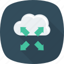 arrow, arrows, cloud, four, large, maximum, screen icon