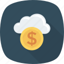 atmosphere, climate, cloud, coin, nature, sky icon