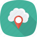 cloud, gps, location, map, navigation, pin icon