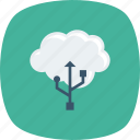 cable, cloud, computing, icloud, usb icon