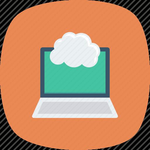 cloud, computing, laptop icon