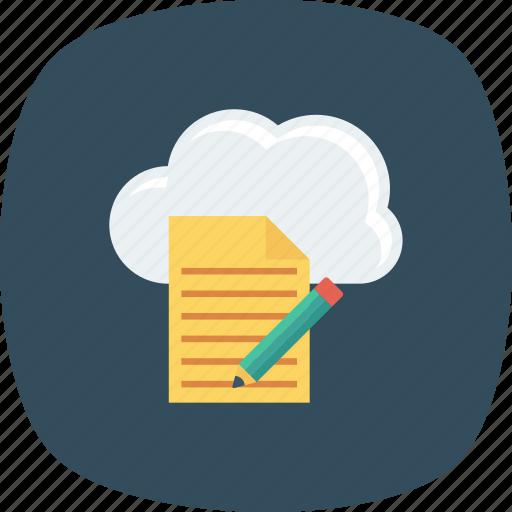 cloud, document, edit, file, pencil, storage icon