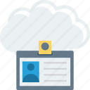 card, cloud, id, identification, identity, profile icon