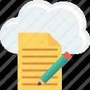 cloud, document, edit, file, pencil, storage
