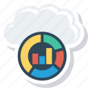 backup, cloud, graph, information, reporting, round icon