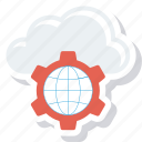 cloud, communication, earth, global, globe, setting icon