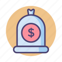 cash, dollar, finance, income, money, money bag icon