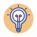 bulb, creative, creativity, idea, inspiration, inspired, light bulb icon
