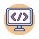 code, coding, html, programming, script, web development icon