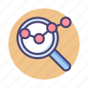analyse, analysis, analytics, find, magnifier, magnifying glass icon