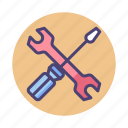 maintenance, repair, screwdriver, tools, wrench icon