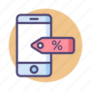 discount, marketing, mobile, sales icon