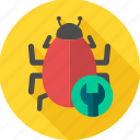 bug, construction, repair, service, virus icon