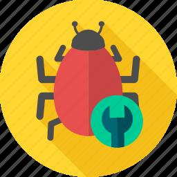 bug, construction, repair, service, virus icon