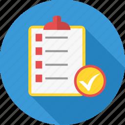 business, checklist, clipboard, list, report, tickmark icon