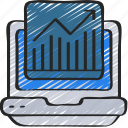 graph, laptop, linegraph, seo, traffic, website icon