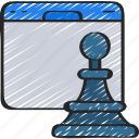 browser, chess, online, seo, strategy, website icon