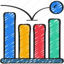 barchart, bounce, linegraph, metrics, rate, seo icon