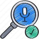 friendly, glass, magnifying, microphone, search, voice icon