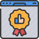 browser, recommendations, thumbs, up, webstie, window icon