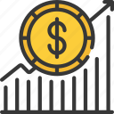 dollar, increase, increased, linegraph, money, sales icon