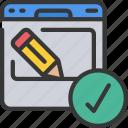 browser, design, edit, good, tick, website icon
