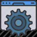 browser, cog, cogwheel, optimisation, seo, website icon