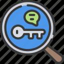 glass, key, keyword, magnifying, research, seo