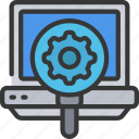 cog, cogwheel, glass, laptop, magnifying, seo icon