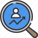 avatar, glass, increase, magnifying, research, user icon