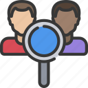 avatar, competitor, glass, magnifying, research, seo icon