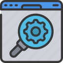 browser, glass, magnifying, on, seo, site icon