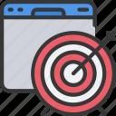 browser, seo, target, targets, website, window icon