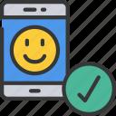 friendly, mobile, phone, seo, site, smile icon