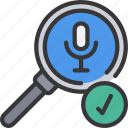 friendly, glass, magnifying, microphone, search, voice