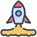 project launch, rocket, seo, startup icon