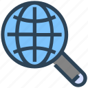 find, global, magnify glass, search, seo, web, worldwide icon