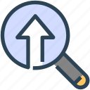 find, magnify glass, optimization, search, seo, upload