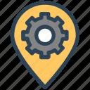 gear, gps, location, pin, seo, settings