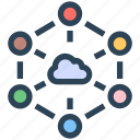 cloud computing, connection, network, seo, sharing icon