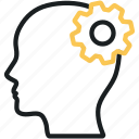 brain, brainstorm, brainstorming, creative, head, mind, settings icon