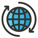 connection, earth, globe, rotate icon