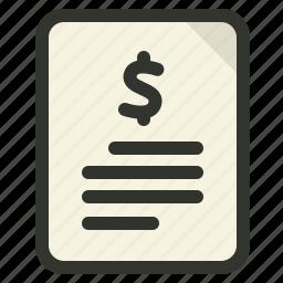 cash, document, dollar, earnings, finance icon