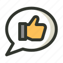 comment, feedback, testimonial, thumbup icon