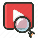 marketing, search, video icon