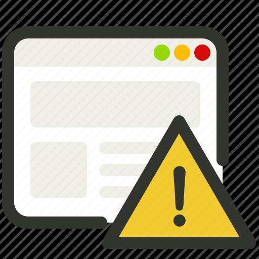 alert, browser, error, warning icon