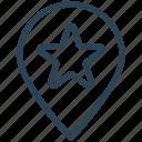 bookmark, favorite, location, map pin, seo, star icon