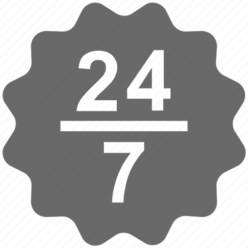 24/7, badge, label, seo, service, support, tag icon - Download on Iconfinder