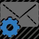 communications, envelope, gear, letter, mail, seo, settings