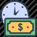 budget estimate, investment, money, seo, time icon